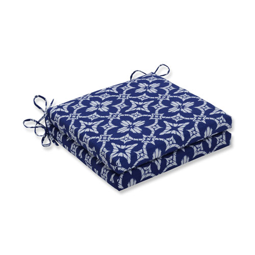 Pillow Perfect Aspidoras Cobalt Squared Corners Seat Cushion, Set of 2