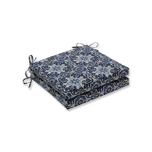 Pillow Perfect Woodblock Prism Blue Squared Corners Seat Cushion, Set of 2