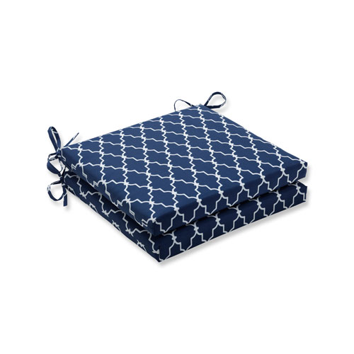 Garden Gate Navy Squared Corners Seat Cushion, Set of 2