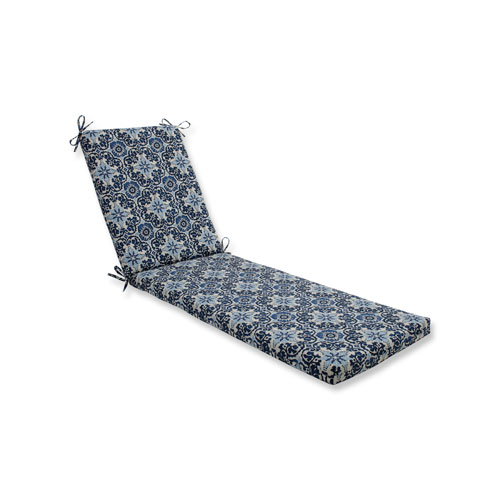 Woodblock Prism Blue Chaise Lounge Cushion