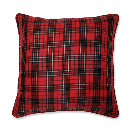 Holiday Plaid Red 20-Inch Throw Pillow