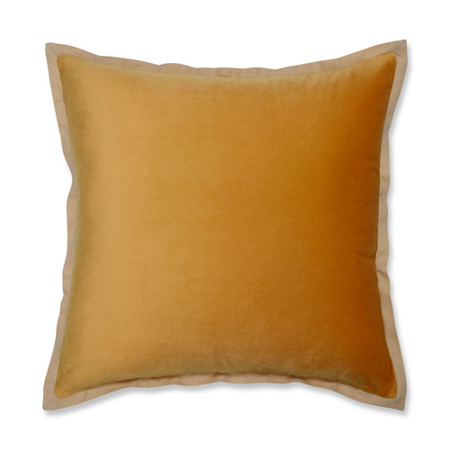 Pillow Perfect Velvet Flange Marigold Yellow 18-inch Throw Pillow
