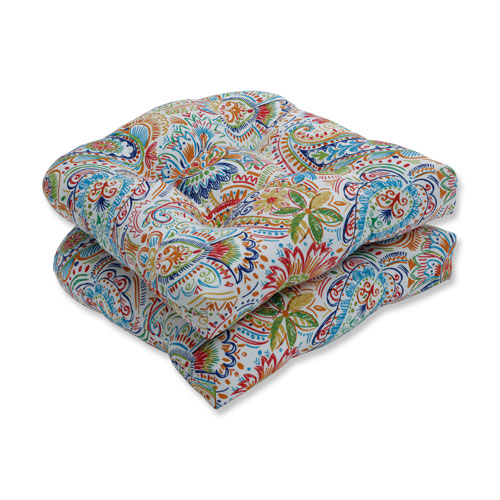 Pillow Perfect Gilford Festival Blue Wicker Seat Cushion (Set of 2)