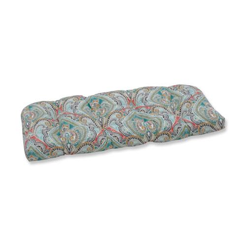 Pretty Witty Reef Blue Wicker Loveseat Cushion