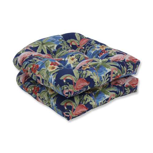 Flamingoing Lagoon Blue Wicker Seat Cushion (Set of 2)