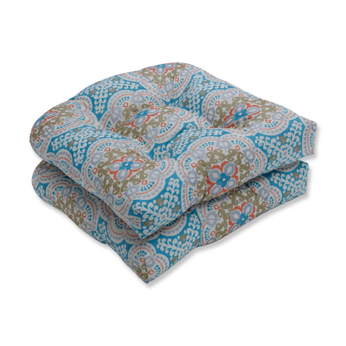 Pillow Perfect Astrid Aqua Blue Wicker Seat Cushion (Set of 2)