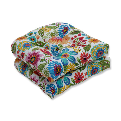 Pillow Perfect Gregoire Prima Blue Wicker Seat Cushion (Set of 2)