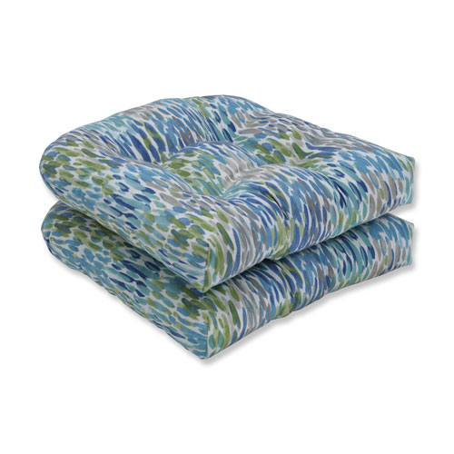 Make It Rain Cerulean Blue Wicker Seat Cushion (Set of 2)
