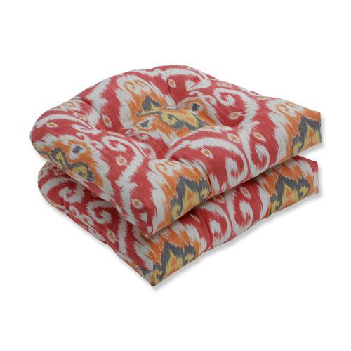 Ubud Coral Orange Wicker Seat Cushion (Set of 2)