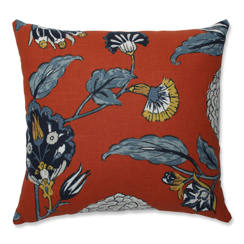 Pillow Perfect Pillow Perfect Indoor Auretta Persimmon Blue 16.5-inch Throw Pillow