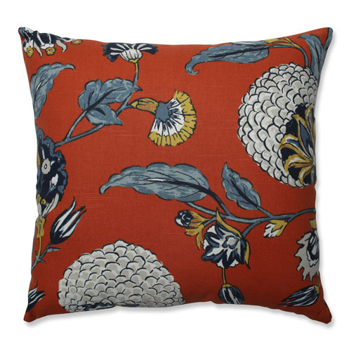 Pillow Perfect Pillow Perfect Indoor Auretta Persimmon Blue 18-inch Throw Pillow