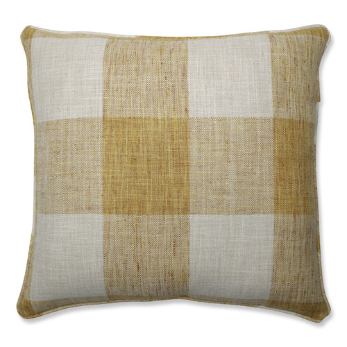 Pillow Perfect Pillow Perfect Indoor Check Please Sunshine Yellow 18-inch Throw Pillow