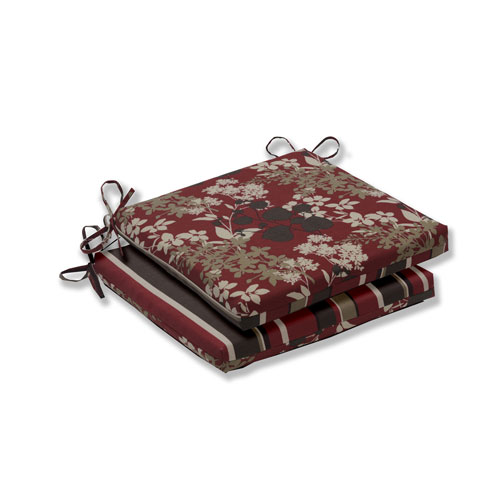Pillow Perfect Monserrat / Montifleuri Sangria Red Squared Corners Seat Cushion, Set of 2