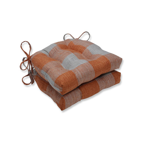 Indoor Check Please Koi Orange Reversible Chair Pad, Set of 2