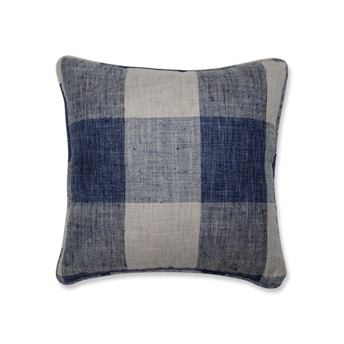 Indoor Check Please Lakeland Blue 16.5-Inch Throw Pillow