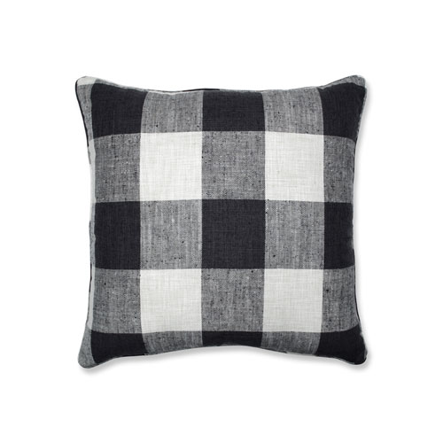Pillow Perfect Indoor Check Please Thunder Black 25-inch Floor Pillow