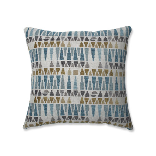 Indoor Blue Sky Blue/Gold/Gray 18-Inch Throw Pillow