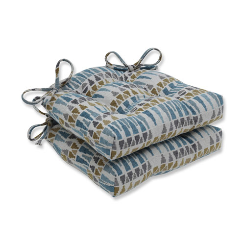 Indoor Blue Sky Blue/Gold/Gray Reversible Chair Pad, Set of 2