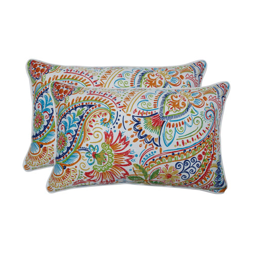 Gilford Festival Blue Rectangular Throw Pillow (Set of 2)