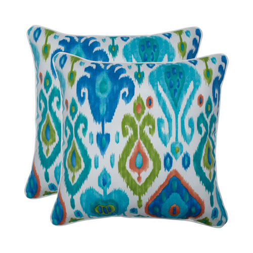 Paso Caribe Blue 18.5-inch Throw Pillow (Set of 2)