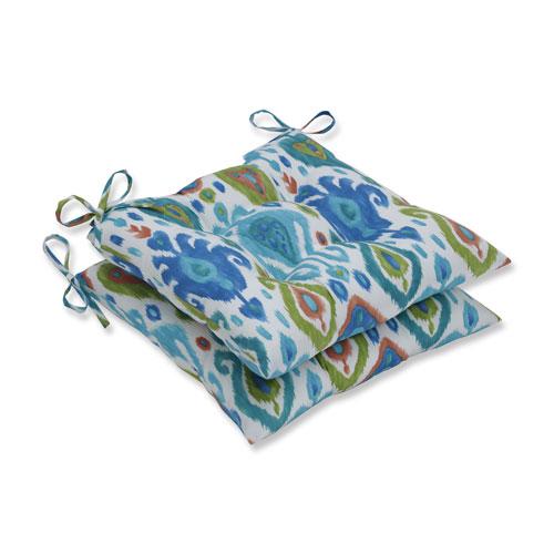 Paso Caribe Blue Wrought Iron Seat Cushion (Set of 2)