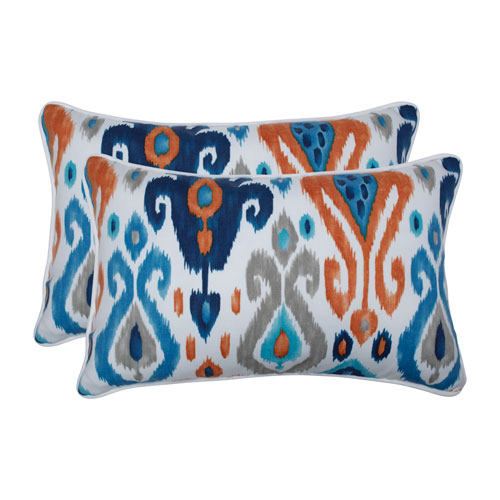 Paso Azure Blue Rectangular Throw Pillow (Set of 2)