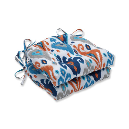 Pillow Perfect Paso Azure Blue Reversible Chair Pad (Set of 2)