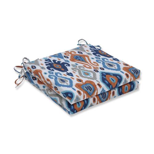 Pillow Perfect Paso Azure Blue Squared Corners Seat Cushion 20x20x3 (Set of 2)
