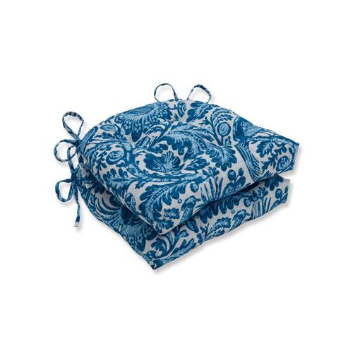 Pillow Perfect Tucker Resist Azure Blue Reversible Chair Pad (Set of 2)