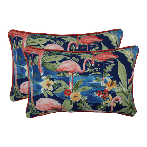 Flamingoing Lagoon Blue Rectangular Throw Pillow (Set of 2)