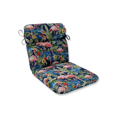 Flamingoing Lagoon Blue Rounded Corners Chair Cushion