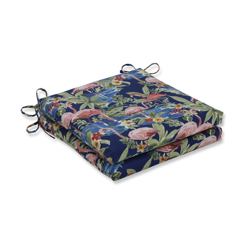 Pillow Perfect Flamingoing Lagoon Blue Squared Corners Seat Cushion 20x20x3 (Set of 2)