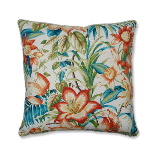 Botanical Glow Tiger Lily Blue 25-Inch Floor Pillow