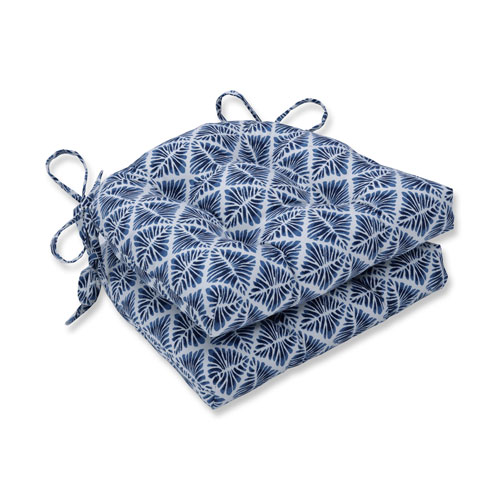 Indoor Gem Field Indigo Reversible Chair Pad- Set of 2