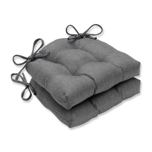 Indoor Sonoma Pewter Reversible Chair Pad- Set of 2