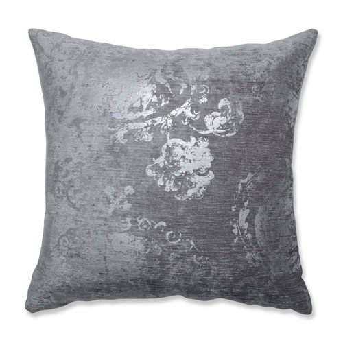 Indoor Metallic Suzani Gunmetal 18-inch Throw Pillow
