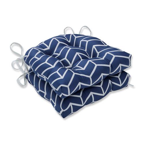 Pillow Perfect Indoor Wingtip Navy Reversible Chair Pad- Set of 2