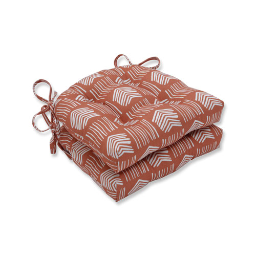 Indoor Whythe Coral Reversible Chair Pad- Set of 2