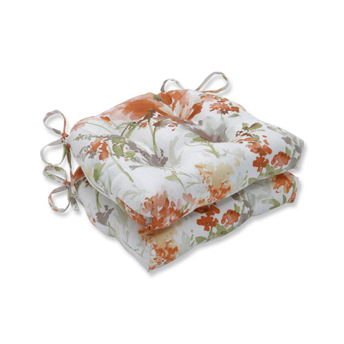 Indoor Pretty Perennials Nude Reversible Chair Pad- Set of 2