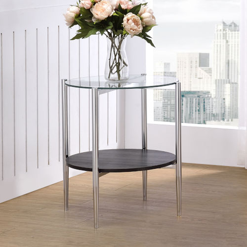 Bayliss Chrome and Merlot End Table