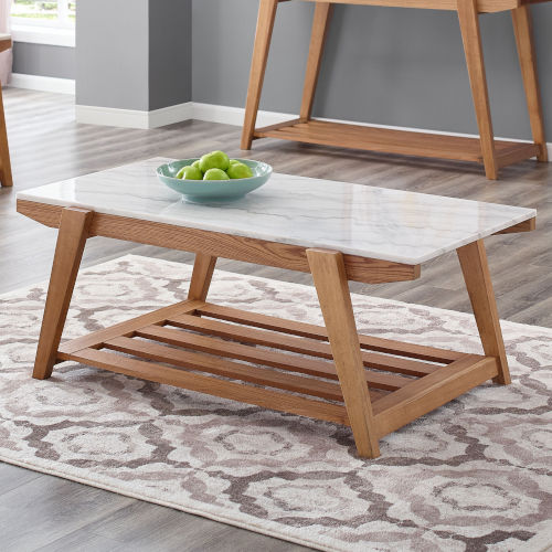 Celeste White And Natural 26-Inch Cocktail Table