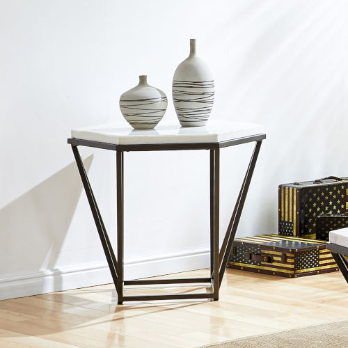 Corvus White and Coffee Marble Top End Table