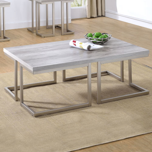 David Soft Driftwood And Pewter 28-Inch Cocktail Table