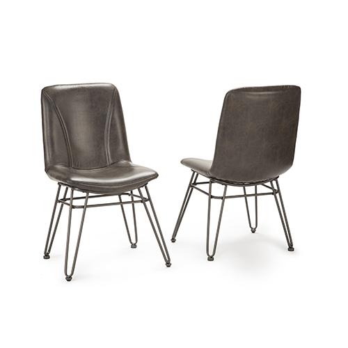 Derek Black and Gray Side Chair- Set of 2