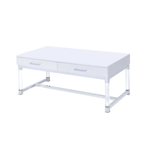 Everett White And Chrome 24-Inch Cocktail Table