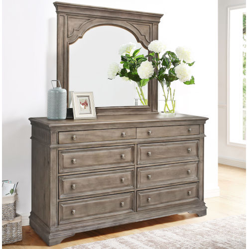 Highland Park Distressed Driftwood Dresser with Mirror