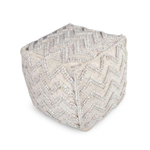 Kenzari Ivory Square Zigzag Handwoven Pouf