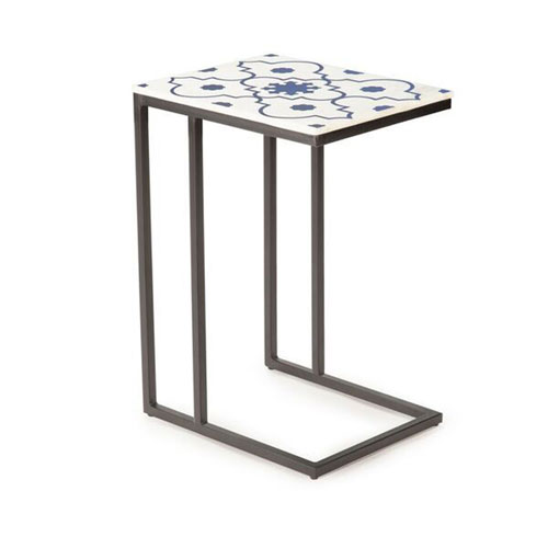 Lara Blue and White Marble Top Chairside Table