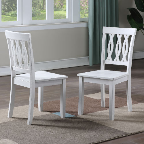 Naples White Side Chair, Set of Two