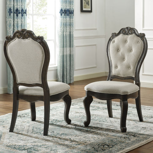 Rhapsody Rich Dark Molasses and Alabaster Upholstered Side Chair, Set of 2